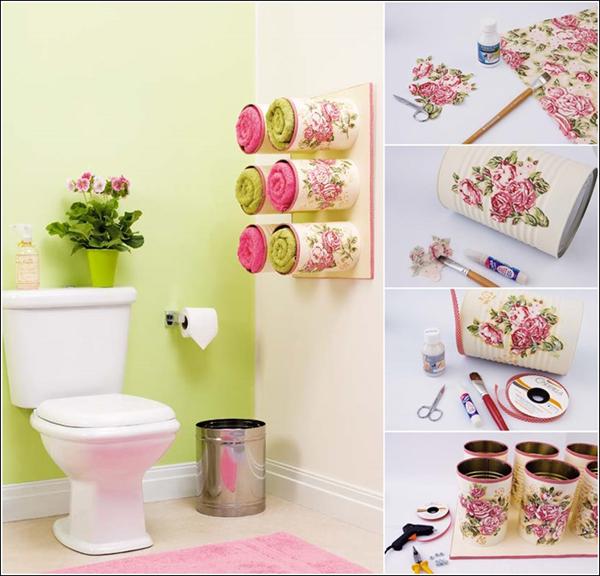decoração com reciclagem  para banheiro
