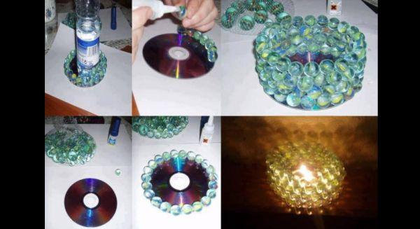 decoração com reciclagem  com cd