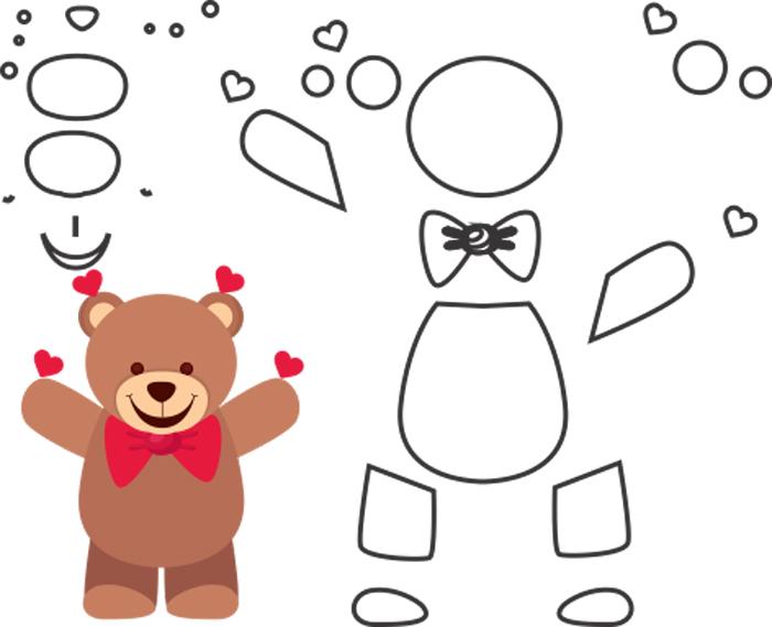 molde de urso em feltro fofinho