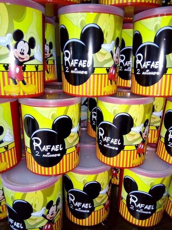 lembrancinha de aniversario do mickey na lata de leite