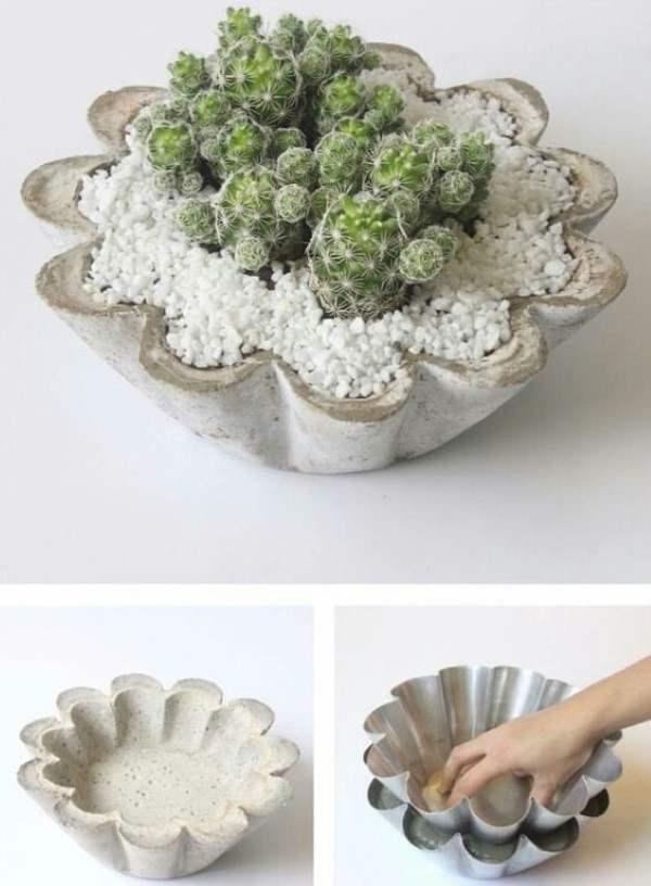 vaso de concreto feito com forma de bolo