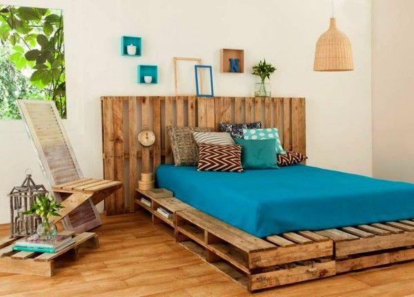 cama de casal de pallets com cabeceira