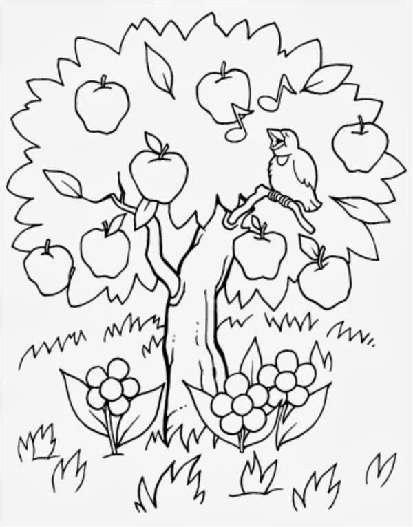 desenhos de árvores com frutos