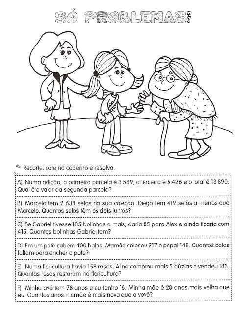 atividades de matemática 4 ano problemas