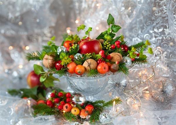 decoração de mesa de natal com frutas