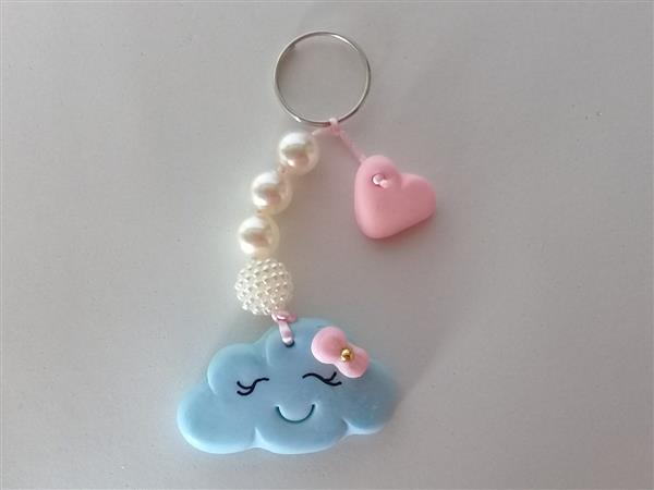 chaveiro de biscuit nuvem chuva de amor