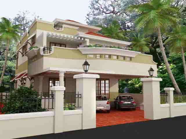 Modelos de casas de campo de luxo for Indian home outer design