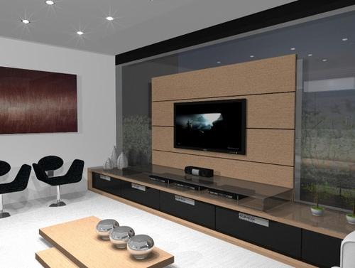 Decora o de rack com painel fotos for Modelos de salas modernas 2016
