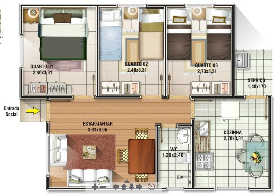 casa com 3 quartos gratis