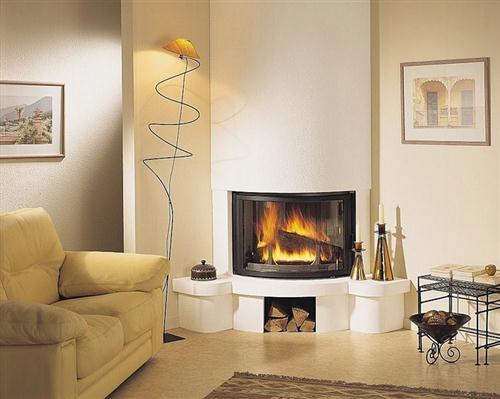 Fotos de lareiras modernas de alvenaria de canto - Chimeneas revestidas ...