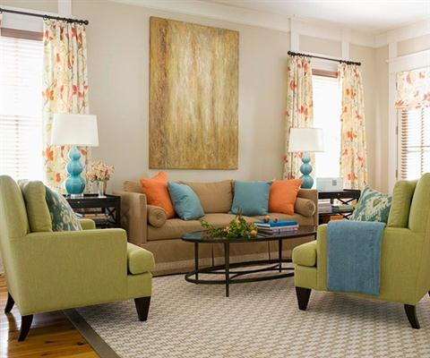 Modelos de cortinas para sala de estar e jantar for Orange green and brown living room