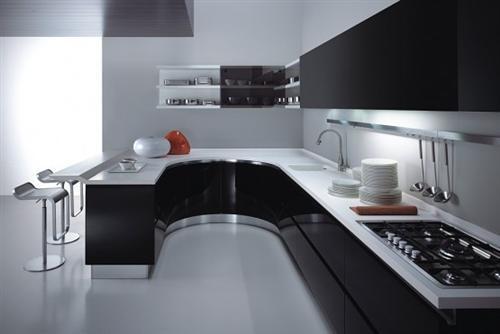 Decora o de cozinha preta for Aluminium kitchen cabinets hyderabad