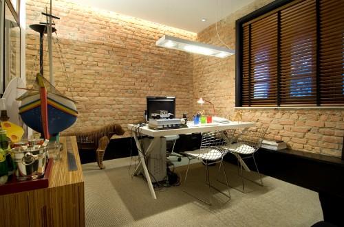 Decoraç u00e3o de parede com tijolinhos -> Decoração De Escritório Residencial
