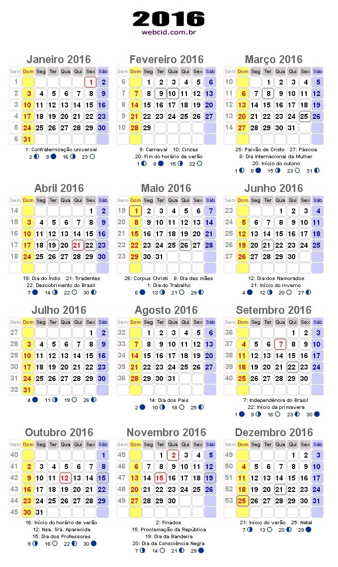 Confira calendário 2016 com fases da lua(Foto: webcid.com.br)