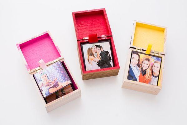 Caixinha de lembranças com fotos é fofa e ótima opção de presente (Foto: livingoops.com)
