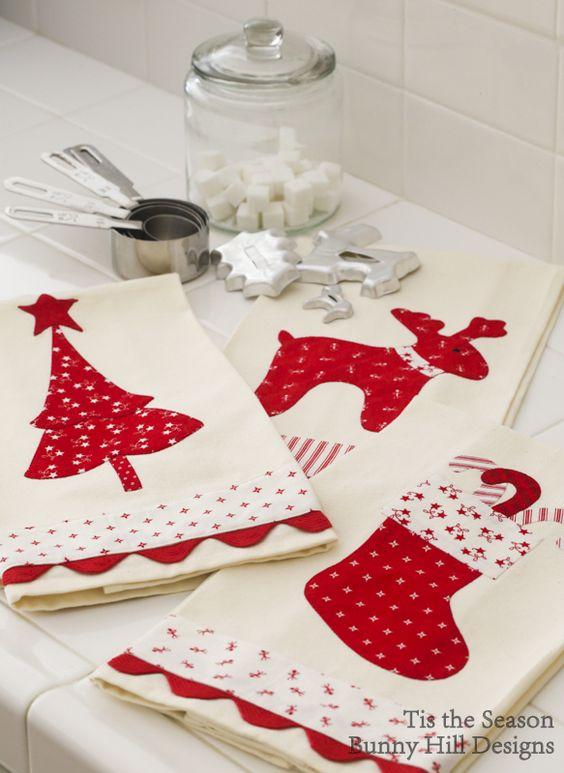 22 ideias de pano de prato de natal em patchwork for Aplicaciones decoradas