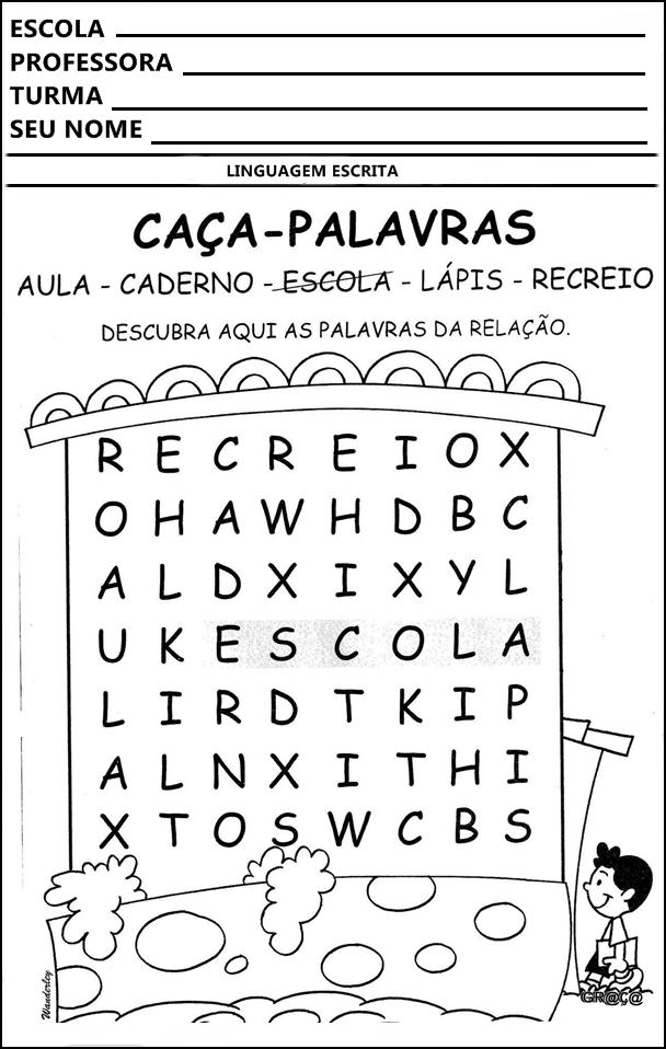 Atividades Educativas Caca Palavras Para Imprimir