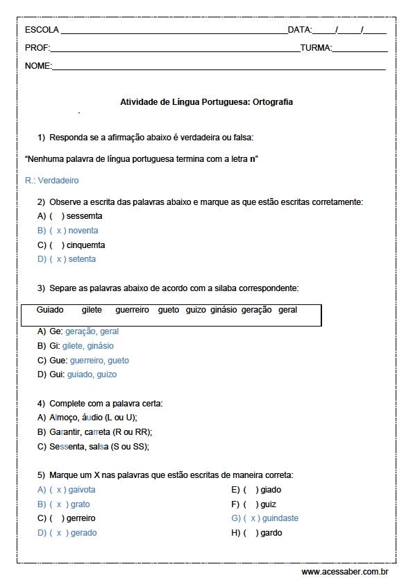 Populares Atividades de Português 5º ano - Ortografia CX75