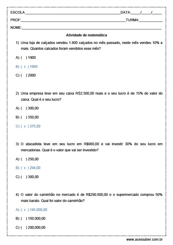 Super Exercícios de Porcentagem com Gabarito para Imprimir KP46
