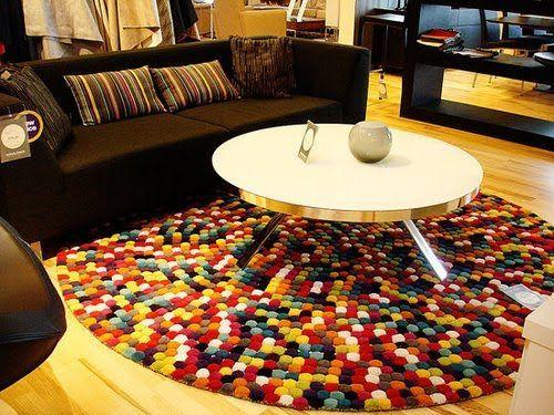 tapete de pompom colorido