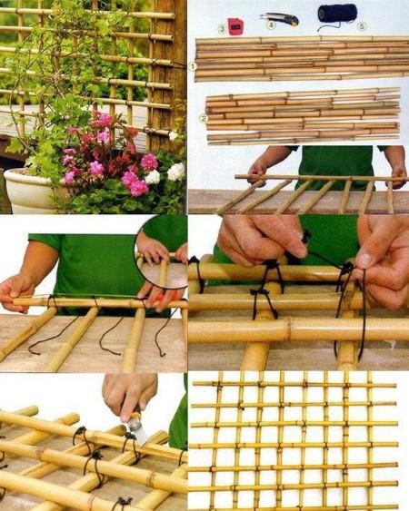opções de artesanato com bambu para jardim