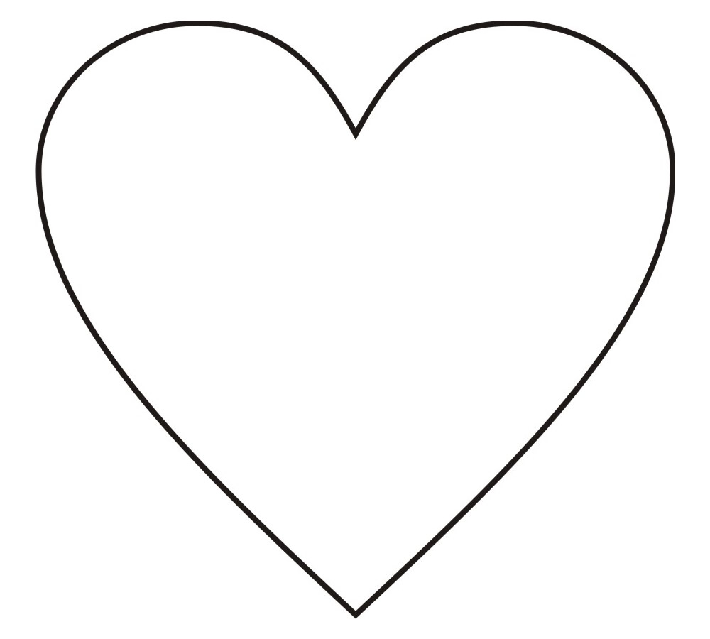 Molde de Coração Grande para Imprimir