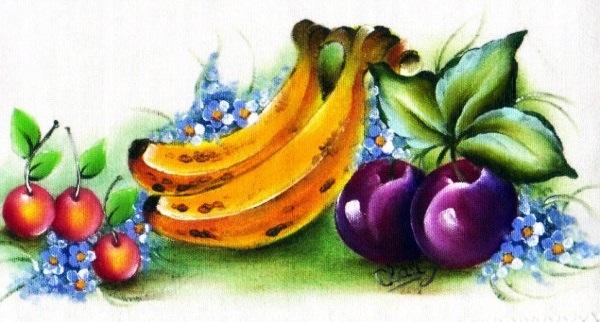 pintura de banana e berinjela