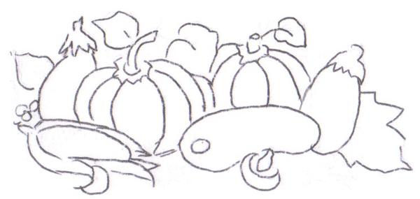 risco com frutas e folhas