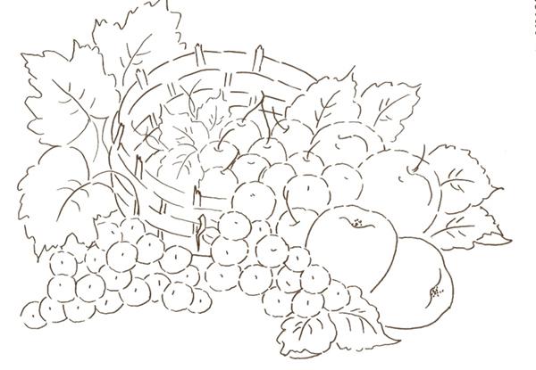 risco com cesta de uvas