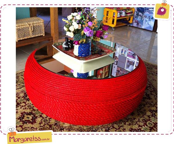 mesa de pneu com corda colorida