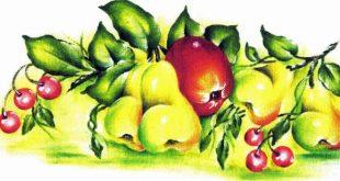 pintura de tecido com maçãs