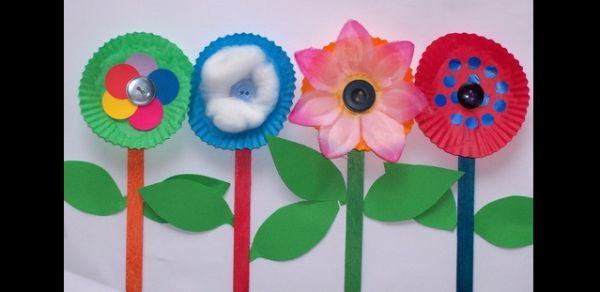 flores com palito de sorvete