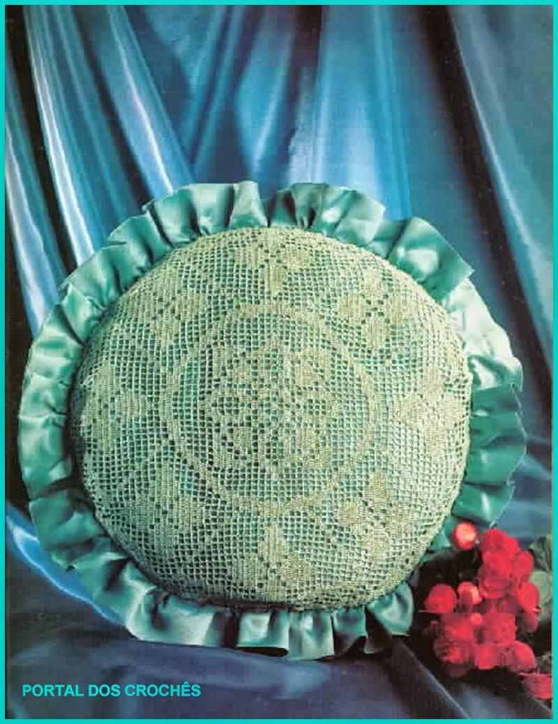 almofada de croche verde