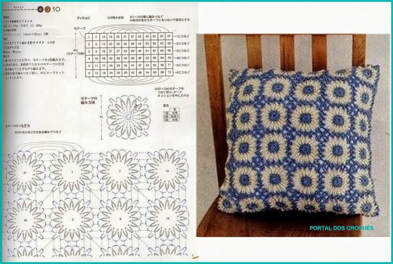 almofada de croche azul