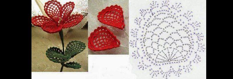 flor de croche vermelho