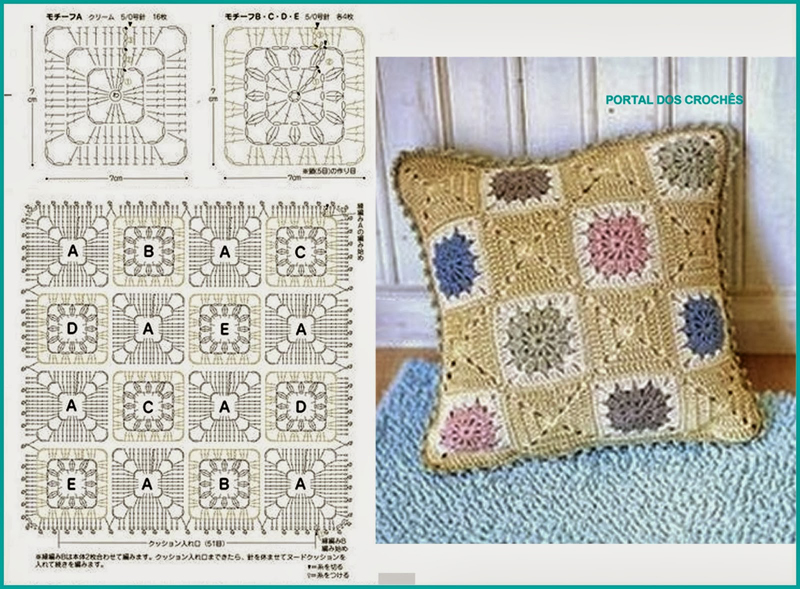 almofada de croche com quadros costurados