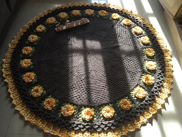 tapete croche girassol
