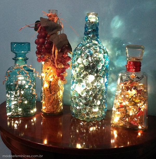 garrafas natalinas iluminadas