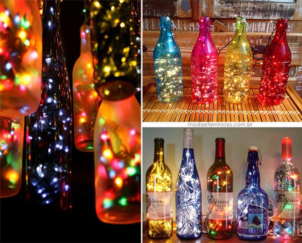 garrafas natalinas com pisca pisca