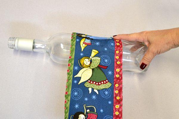 garrafa natalina com tecido