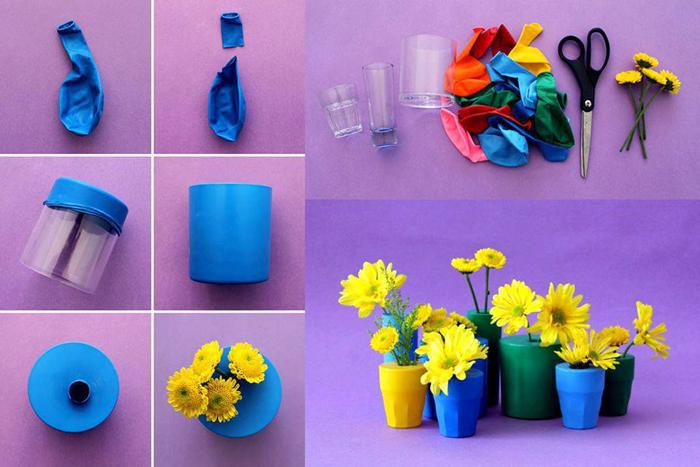 vaso artesanal com bexiga