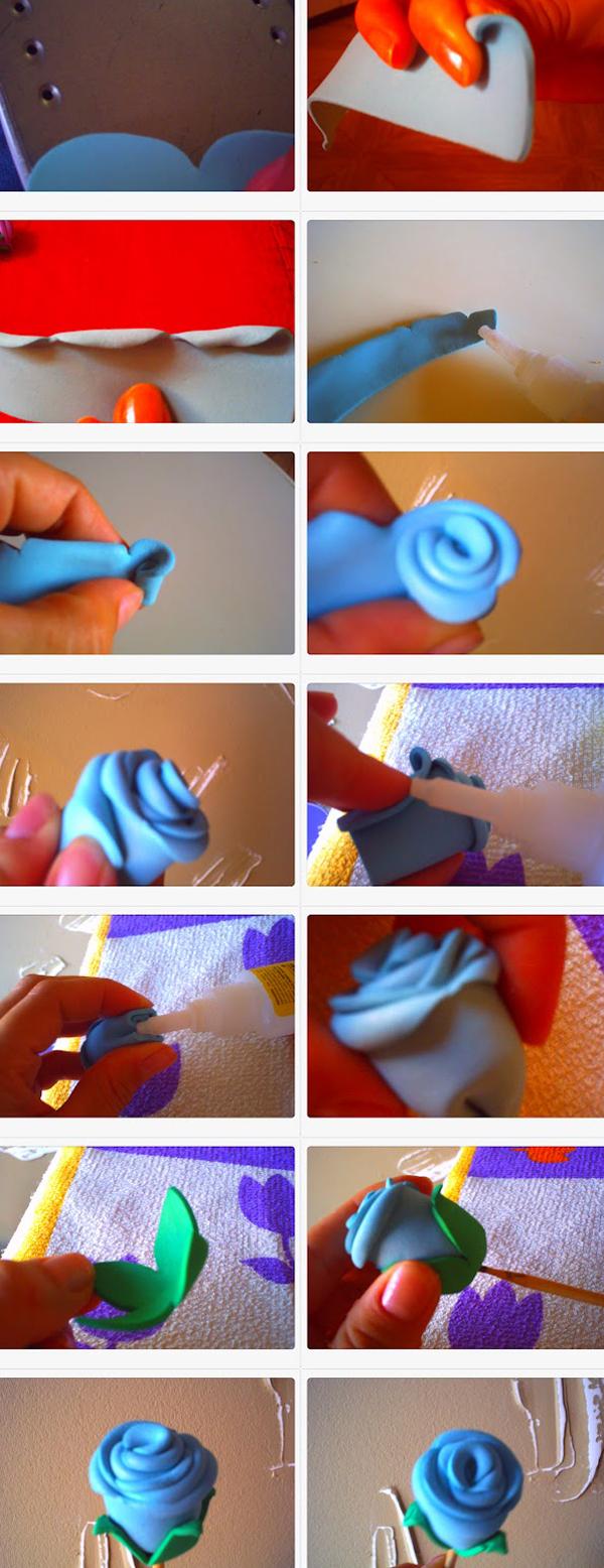 flor em EVA rosa azul