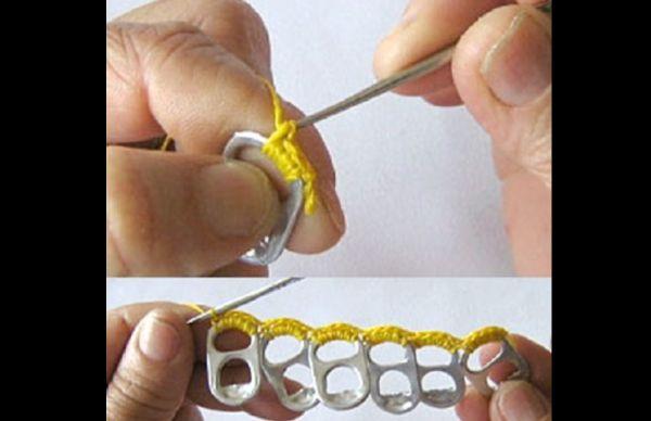como fazer crochê com lacre de latinha