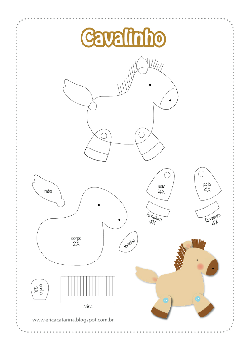 bichinhos de EVA fazendinha cavalo