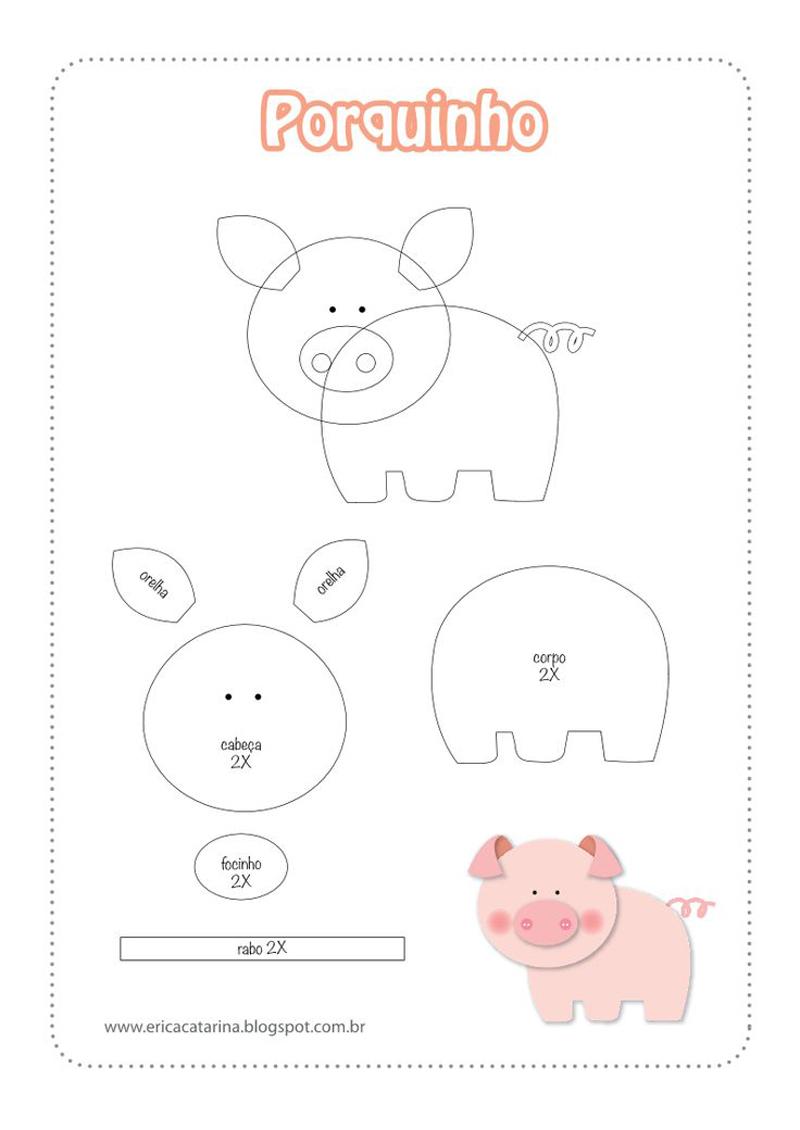 bichinhos de EVA fazendinha porco