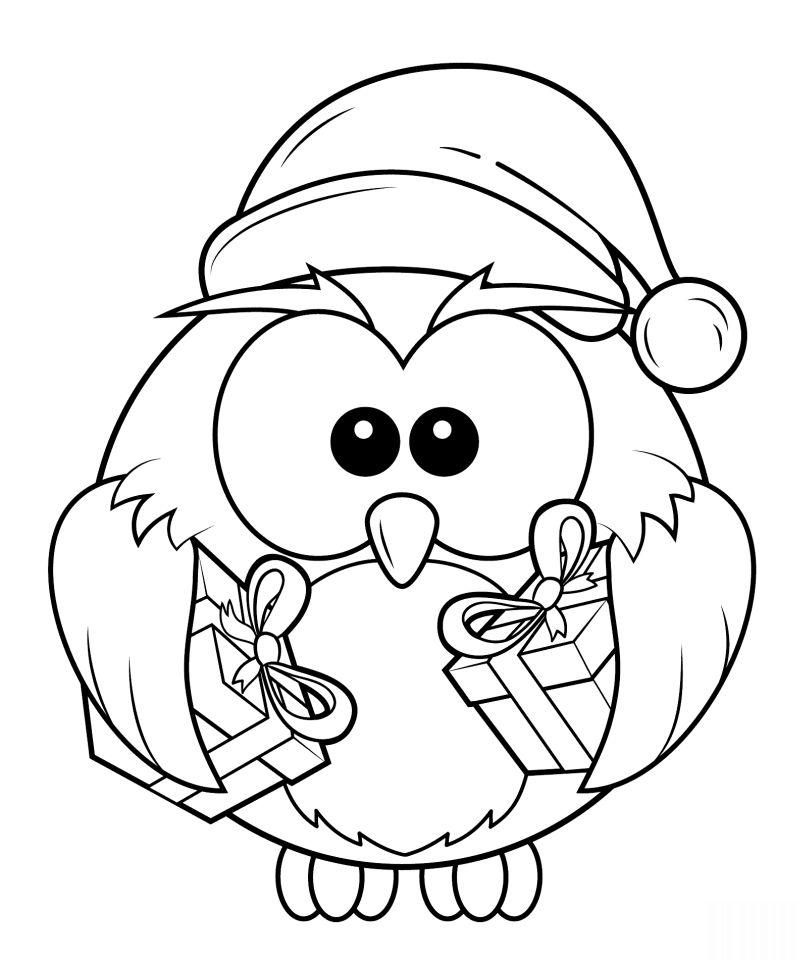 desenho natalino coruja