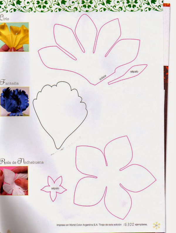 flor em EVA com moldes