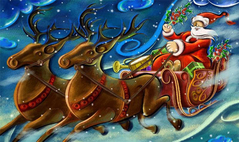 desenho de noel com renas