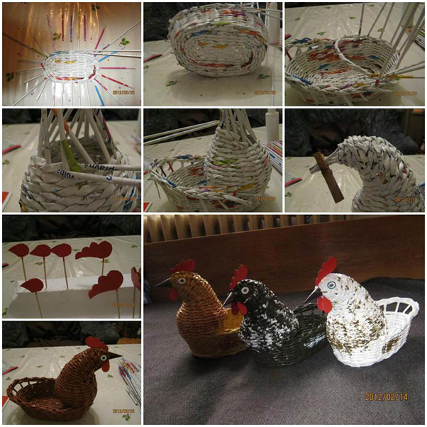 artesanato de jornal galinha