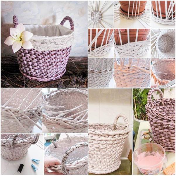 artesanato de jornal cesta